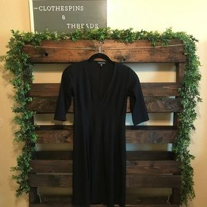 Eileen Fisher Black Deep V-Neck A-line Dress
